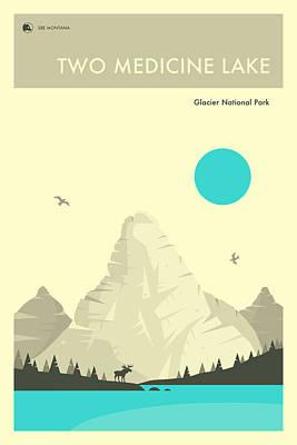 Glacier National Park Poster - Two Medicine Lake Art Print by Jazzberry Blue