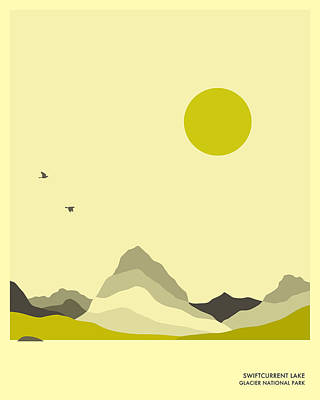 Minimal Landscape Digital Art - Glacier National Park, Swiftcurrent Lake by Jazzberry Blue