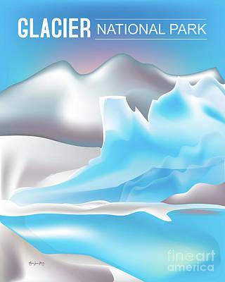 Montana Digital Art - Glacier National Park Vertical Scene by Karen Young