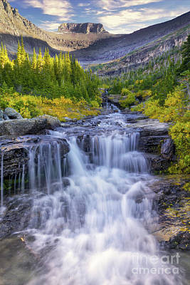 Photograph - Glacier National Park Waterfall 1 by Jerry Fornarotto