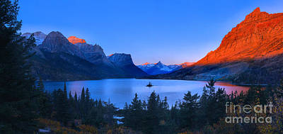 Photograph - Glacier Orange Glow Over St. Mary by Adam Jewell