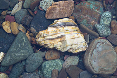 Glacier Park Creek Stones Submerged Art Print