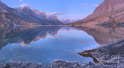 Photograph - Glacier Park St Mary Sunrise Panorama by Adam Jewell