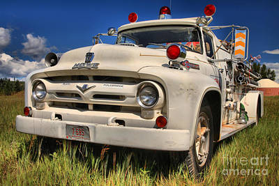 Photograph - Glacier Polebridge Montana Fire Truck by Adam Jewell