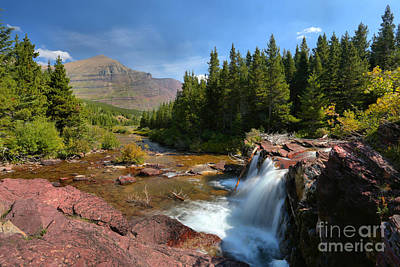 Photograph - Glacier Red Rock Falls Landscape by Adam Jewell