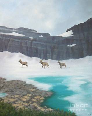 Painting - Glacier's Bighorn Hikers by Phyllis Andrews