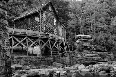 Photograph - Glade Creek - Cooper's Mill - Black And White by Gregory Ballos