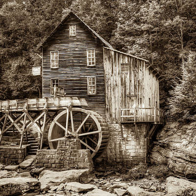 Photograph - Glade Creek Grist Mill 1x1 Sepia - West Virginia by Gregory Ballos