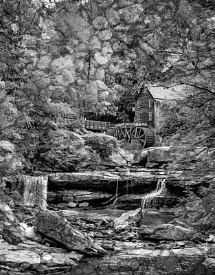 Glade Creek Grist Mill 3 - Overlay Bw Art Print by Steve Harrington