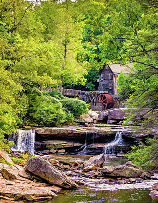 Grist Mill Photograph - Glade Creek Grist Mill 3 - Paint by Steve Harrington