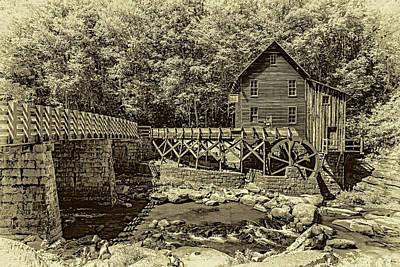 Glade Creek Grist Mill 3 - Sepia Art Print