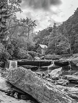 Grist Mill Photograph - Glade Creek Grist Mill 4 Bw by Steve Harrington