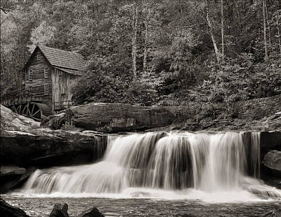 Glade Creek Grist Mill Monochrome Art Print by Chris Flees