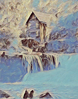 Painting - Glade Creek Grist Mill In Winter by Dan Sproul
