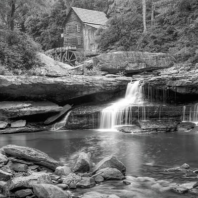 Photograph - Glade Creek Grist Mill Waterfall - Black And White - Square Format by Gregory Ballos