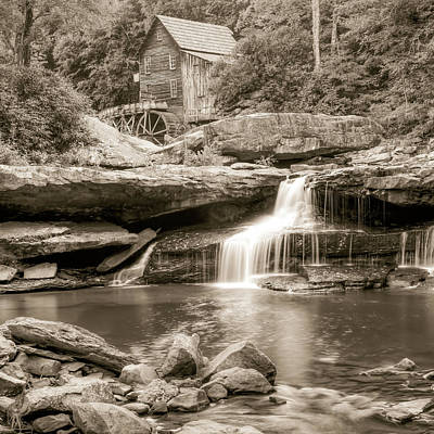 Photograph - Glade Creek Grist Mill Waterfall - Sepia - Square Format by Gregory Ballos