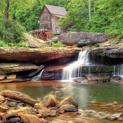Photograph - Glade Creek Grist Mill Waterfall - Square Format by Gregory Ballos