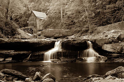 Photograph - Glade Creek Grist Mill - West Virginia - Sepia by Gregory Ballos