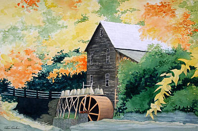 Grist Mill Painting - Glade Creek by Jim Gerkin