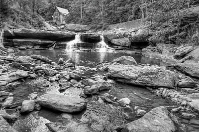 Photograph - Glade Creek Mill And Cascading Waterfalls - Black And White by Gregory Ballos