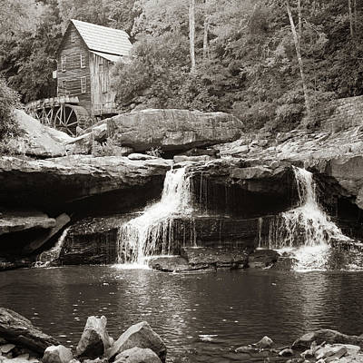 Photograph - Glade Creek Mill And Twin Waterfalls - Sepia Square Format by Gregory Ballos