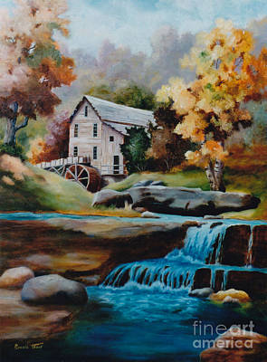 Grist Mill Painting - Glade Creek Mill by Brenda Thour