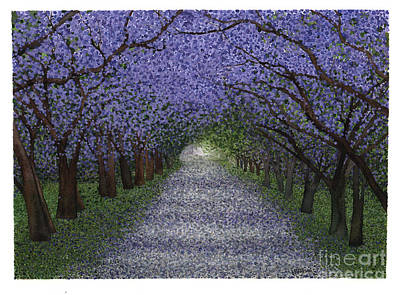 California Watercolor Artists Painting - Glade - Jacaranda Trees In Spring by Hilda Wagner
