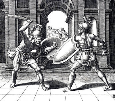 Swordsman Photograph - Gladiators In Ancient Rom by Science Source