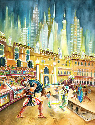 Painting - Gladiators In Coliseum From Rome Of Tomorrow by Miki De Goodaboom
