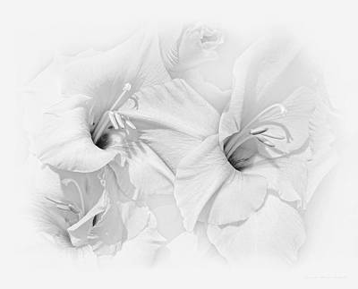 Photograph - Gladiola Flowers Black And White by Jennie Marie Schell
