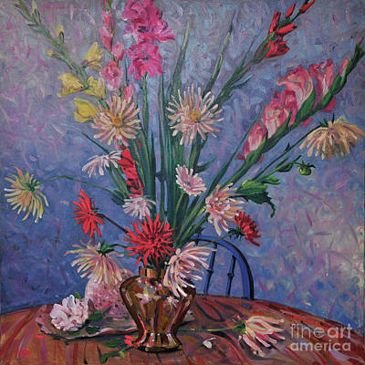 Gladiolas And Dahlias Art Print by Donald Maier