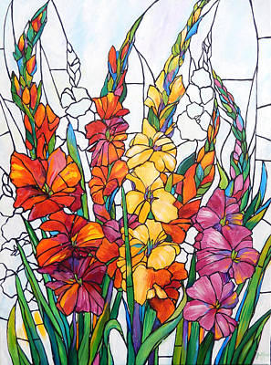 Gladiolas Painting - Gladiolas In Glass by Judi Krew