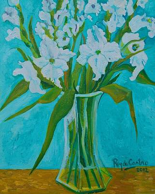 Gladiolas On Blue Art Print by Pilar Rey de Castro