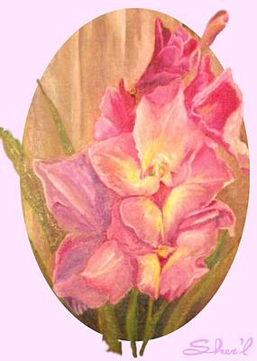 Painting - Gladiolas Oval by Sherril Porter