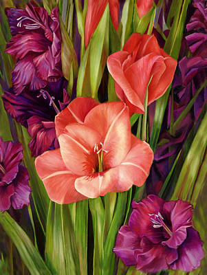 Painting - Gladiolus A Bee's View by Nancy Tilles