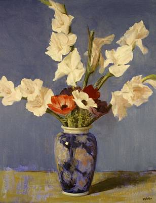 Painting - Gladiolus And Anemones In Decorative Vase by Robert Holden