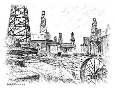 Drawing - Gladys City by Randy Welborn
