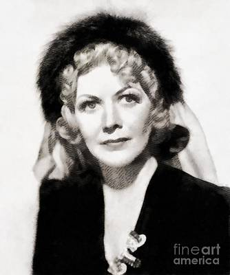 Popstar And Musician Paintings Royalty Free Images - Gladys george, Vintage Actress by John Springfield Royalty-Free Image by Esoterica Art Agency