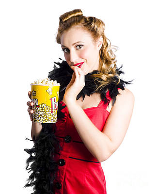 Photograph - Glamorous Woman Holding Popcorn by Jorgo Photography - Wall Art Gallery