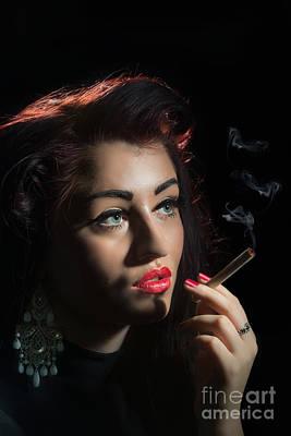 Glamorous Woman Smoking Print by Amanda Elwell
