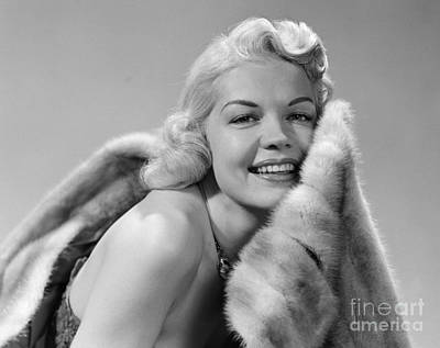 Glamorous Woman With Fur, C.1950s Art Print by Debrocke/ClassicStock