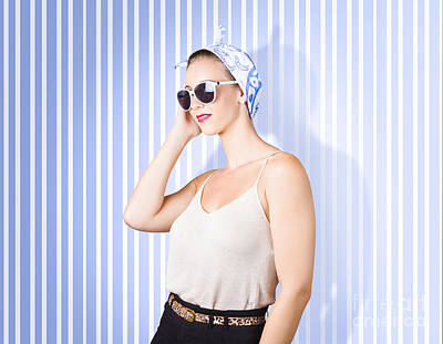 Glamour Fashion Girl On Retro Striped Background Art Print by Jorgo Photography - Wall Art Gallery