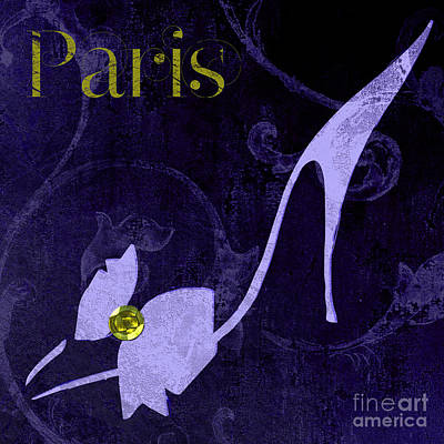 Glamour Paris Blue Shoe Art Print by Mindy Sommers