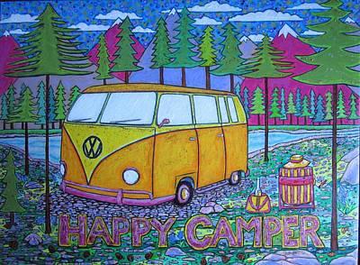 Glamper Camper Vw Bus 1 Art Print