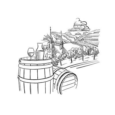 Glas Of Wine On Barrel In Front Of German Vineyard Landscape Art Print by Knut Hebstreit