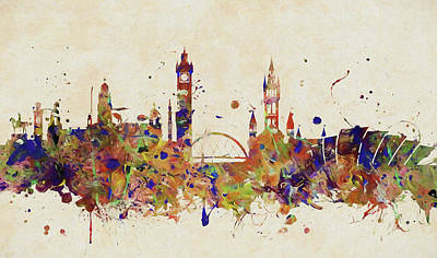 Painting - Glasgow Colorful Skyline by Dan Sproul