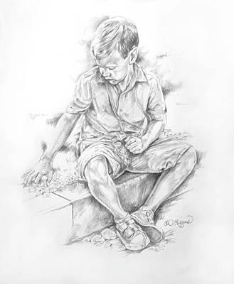 Dublin Drawing - Glasnevin Boy by Derrick Higgins