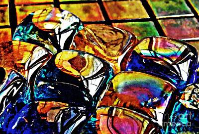 Jewel Tone Photograph - Glass Abstract by Sarah Loft