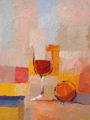 Stillife Painting - Glass And Orange by Lutz Baar