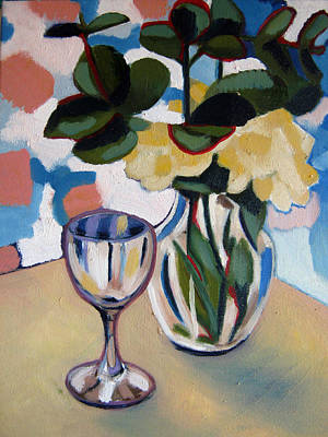 Glass Table Reflection Painting - Glass And Vase by Rebecca Williams
